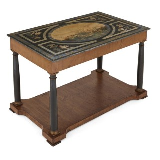Italian partly ebonised walnut coffee table with scagliola top