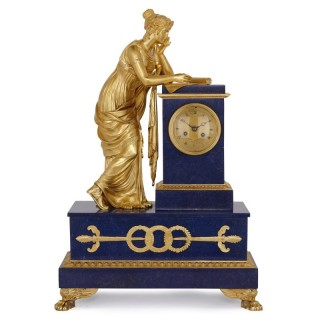 Gilt bronze and lapis lazuli mantel clock by Ledure and Hémon