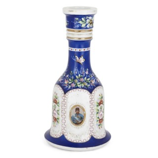 19th Century painted porcelain huqqa base