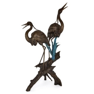 Large patinated bronze fountain with heron sculptures