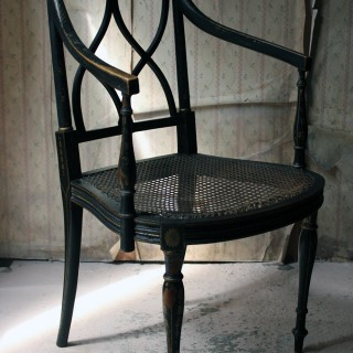 A Lacquered Amp Chinoiserie Decorated Elbow Chair By Druce