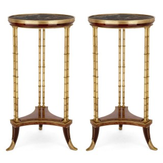 Two Neoclassical style marble, gilt bronze and mahogany side tables