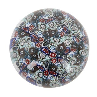 Collection of six glass multicoloured paperweights