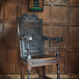 Charles II Exeter carved armchair