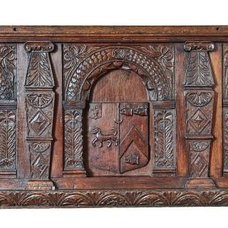 Charles I oak carved heraldic overmantel