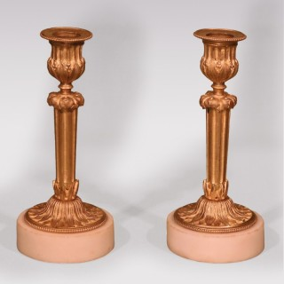 A Pair Of Mid 19th Century French Ormolu Candlesticks
