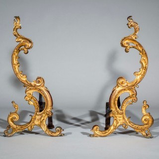 Exceptional Pair of 18th Century English Rococo Gilt Bronze Andirons Firedogs Chenets