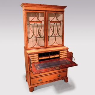A fine quality late 18th Century Sheraton period satinwood Secretaire Bookcase