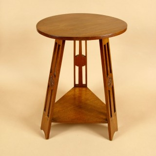 A Very Stylish Arts and Craft Style Anglo Dutch Oak Round Small Table. Circa:1900