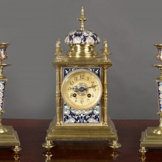 French Brass and Champleve Enamel Clock Garniture