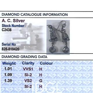 3.49ct Diamond and Platinum Drop Earrings - Antique Circa 1925