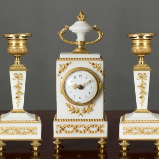 French Miniature White Marble Clock Garniture