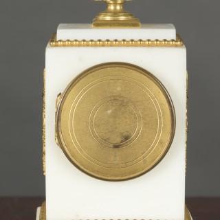 French Miniature White Marble Clock Garniture