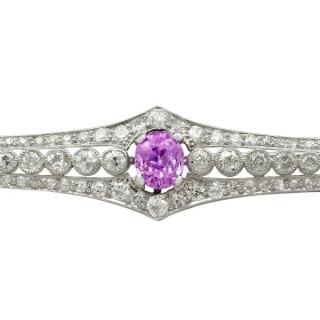 1.97ct Pink Sapphire and 2.32ct Diamond, Platinum Brooch - Antique Circa 1920