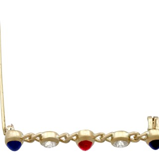 0.73ct Diamond and 1.65ct Sapphire, 0.88ct Ruby and 15ct Yellow Gold Bar Brooch - Antique Victorian