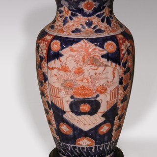 Pair of mid 19th Century Japanese Imari pattern Vases converted to table lamps