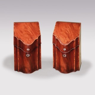 pair of late 18th Century George III period well-figured mahogany Cutlery Boxes