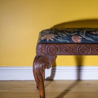 18th Century George II Walnut Needlework Stool