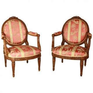 Pair of Large XVI Style Walnut Fauteuils or Armchairs