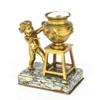 Antique French Ormolu Artistic Cherub Inkwell 19th C