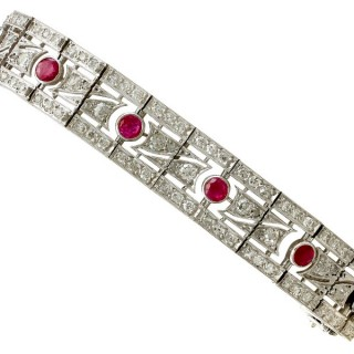 2.45ct Ruby and 6.85ct Diamond, Platinum and 18ct White Gold Bracelet - Antique French Circa 1935