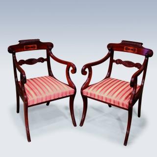 pair of early 19th Century Regency period Mahogany Armchairs