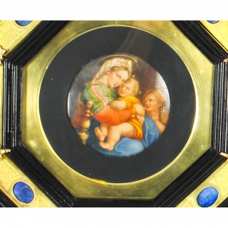Antique Italian Framed Hand Painted Miniature Madonna & Child 19th C