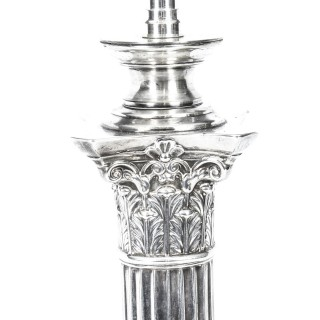 Antique Edwardian Sterling Silver Corinthian Column Table Lamp 1908