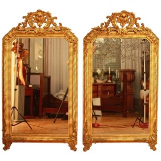 Pair of Large Louis XIV Style Giltwood Wall Mirrors, ca. 1860