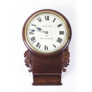 Antique Victorian Drop Trunk Single Fusee Flame Mahogany Wall Clock C1860