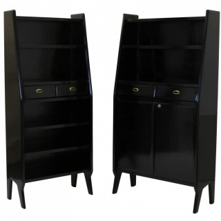 A PAIR OF LARGE EBONISED ARCHITECTURAL BOOKCASES