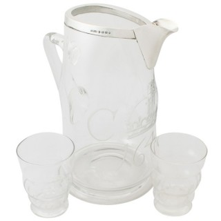 Sterling Silver and Glass Water Jug with Glass Tumblers - Antique Victorian