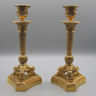 A Pair of Small 19th Century Ormolu Triform Candle Sticks