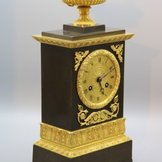 Early 19th Century French Bronze & Ormolu Eight Day Silk Suspension Striking Clock