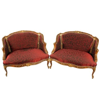 Pair of French Carved Walnut Settees