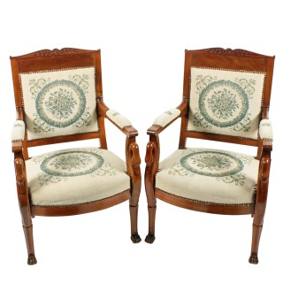Pair of Mahogany Empire Arm Chairs