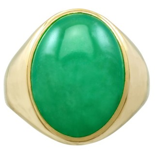 12.95ct Jade and 18ct Yellow Gold Dress Ring - Vintage Circa 1990