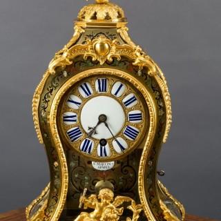 Louis XV Tortoiseshell Boulle Clock by St Martin, Paris