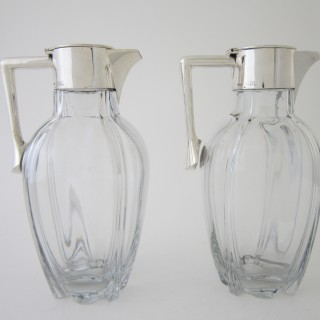 Antique Victorian Sterling silver and glass claret jugs