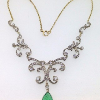 Belle Epoque Diamond and Emerald Necklet.