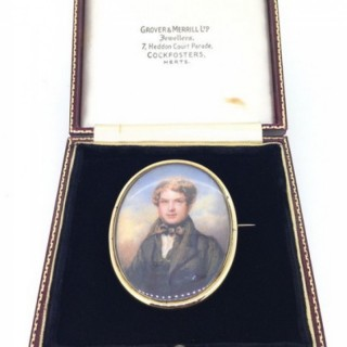 Antique Miniature Portrait Brooch.