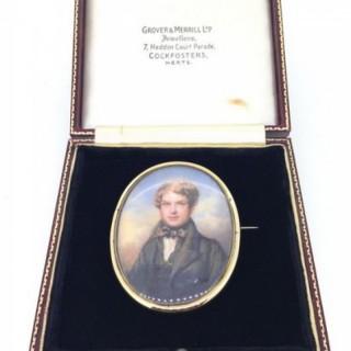 Antique Miniature Portrait Brooch.