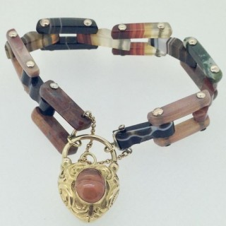Antique Scottish Agate Bracelet.