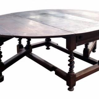 Very Large 17th Century Oak Gateleg Dining Table.
