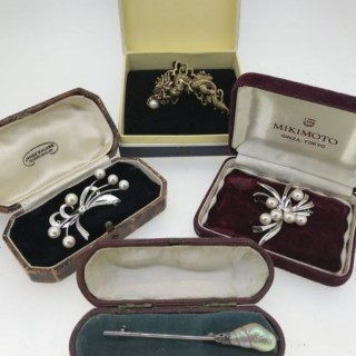 Selection of Silver and Pearl Brooches