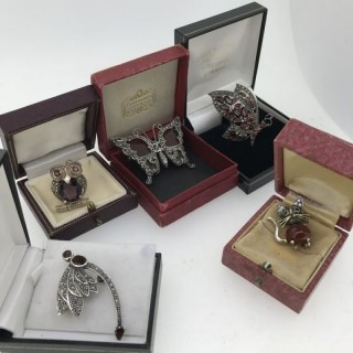 Selection of Vintage Silver and Marcasite Brooches