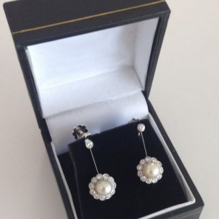 Pearl and Diamond Cluster Earrings