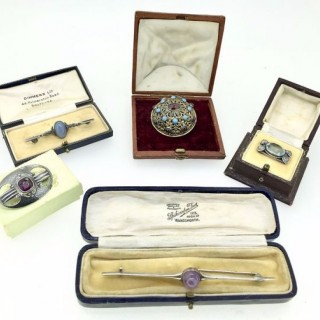 Selection of Silver and Gem Set Brooches