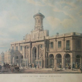Pair Acquatint of Royal Exchange AND East India House