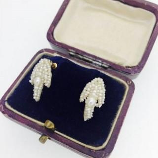 Victorian Seed Pearl Screw Earrings.